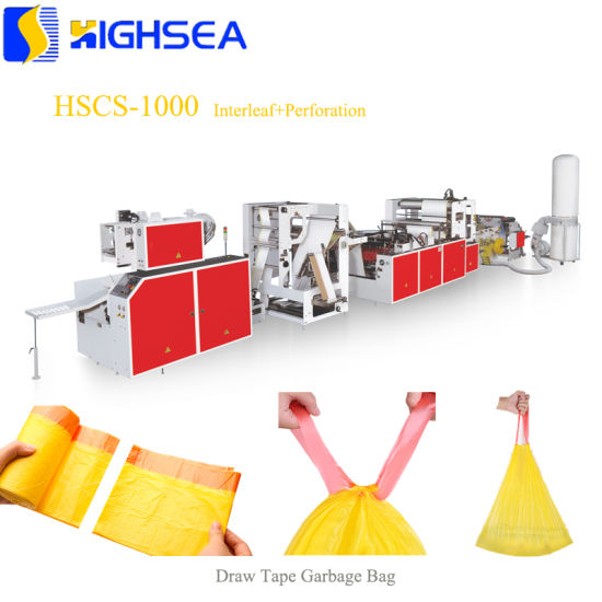 Plastic Overlap Drawstring Trash Bag Making Machine Perforation Continuous Rolling Draw Tape Garbage Bag Interleave and on Roll Making Machine Factory pictures & photos