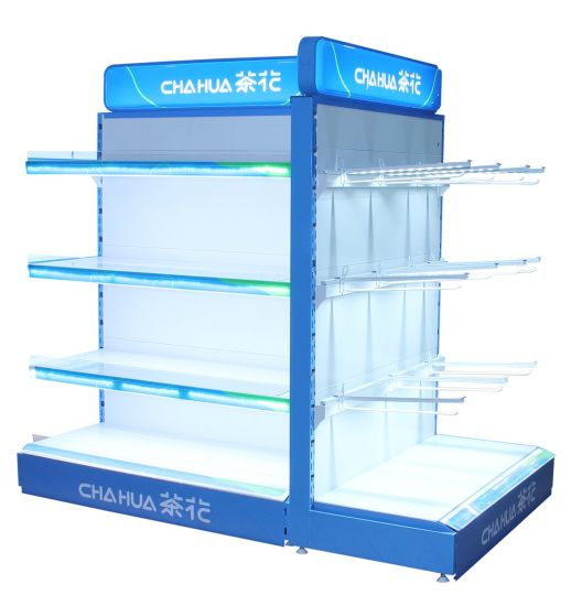 Metallic Material Double Sided Supermarket Display Shelves