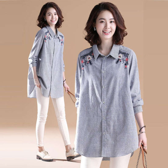 Fashion Women's Casual Loose Medium Long-Sleeves Embroidered Striped Shirt