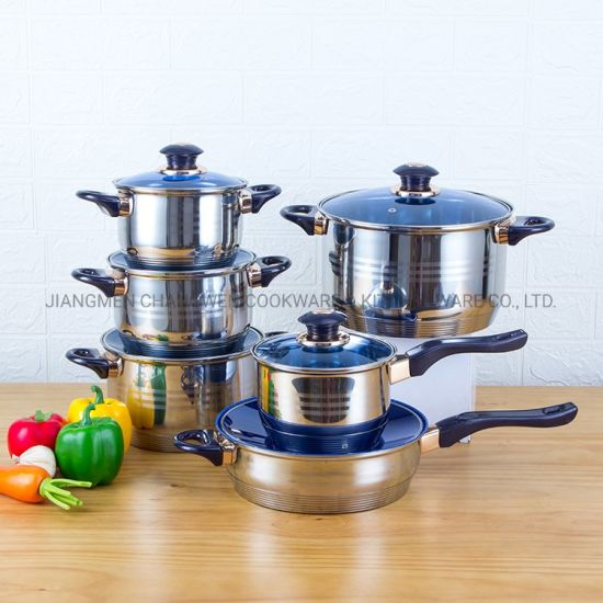 Kitchenware 12 PCS Cooking Pot Non-Stick Pan Stainless Steel Cookware Set with Bakelite Handle