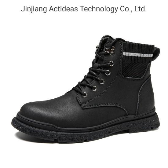 2020 High Quality Fashion Black Leather Ankle Men Boots Men Shoes