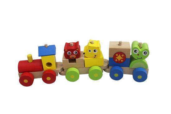 China Wooden Block Train Toy With 3 Carriage For Kids