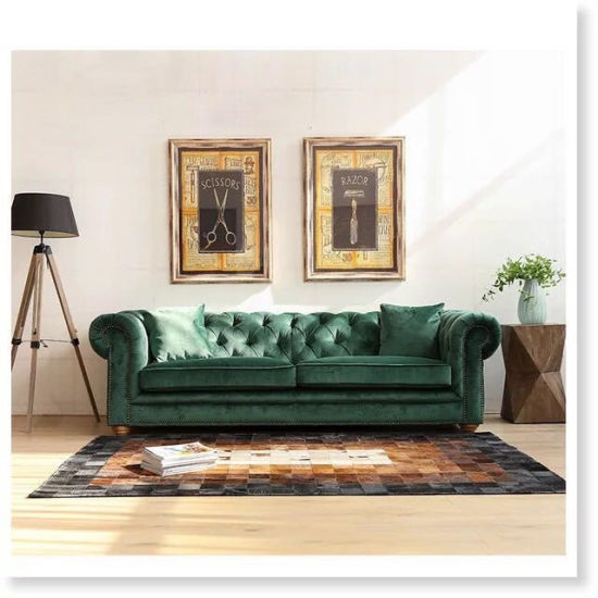 China Antique Living Room Furniture Chesterfield Fabric Sofa Couch