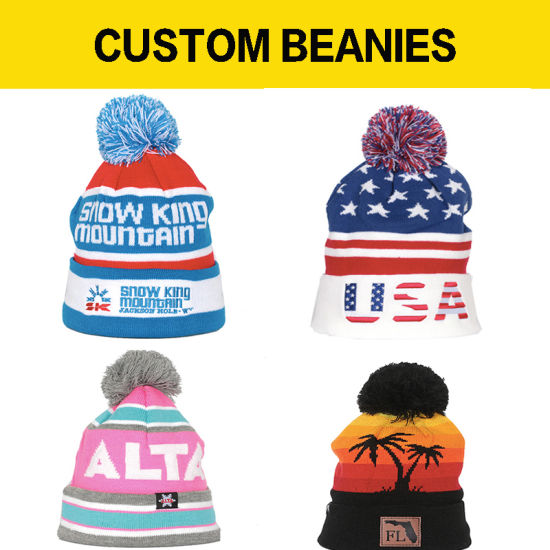 Knit Beanie Jacquard Knitted Cap Custom Made