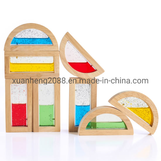 Colorful Six Shapes Children's Educational Wooden Rainbow Building Blocks Toys