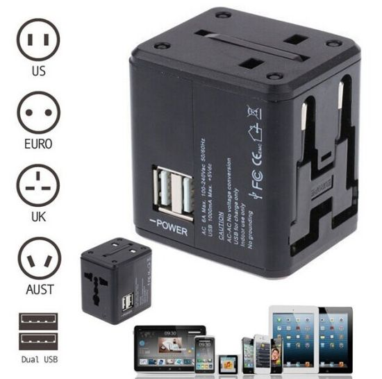 Universal Power Adapter Electric Converter Us/Au/UK/EU World USB Travel Plug pictures & photos