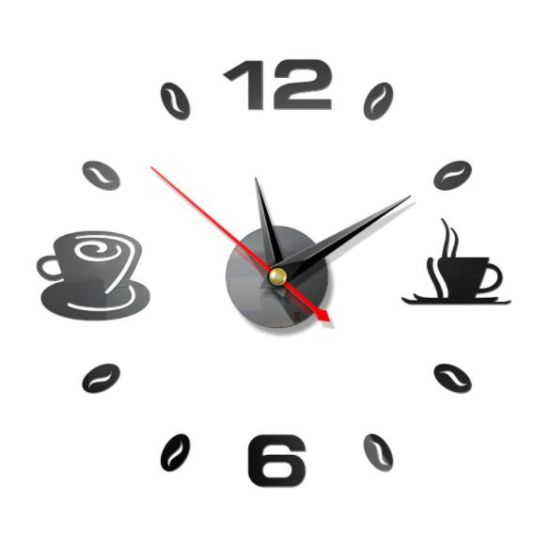 Simple Coffee DIY Wall Clock Classic Design 3D Wall Clock Home Decor
