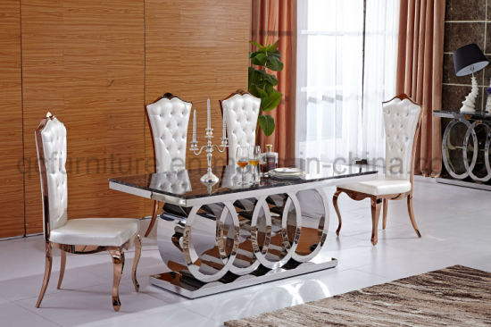 Audi Logo Stainless Steel Base Marble Top Dining Table