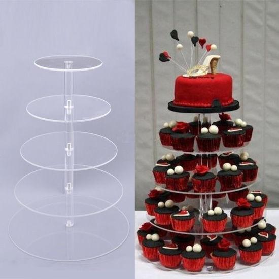 China 5 Tier Clear Round Acrylic Party Wedding Birthday Cake Display