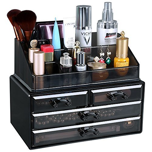 Jewelry and Makeup Storage Display Boxes (1 Top 4 Drawers) Cosmetic Organizer (Tawny)