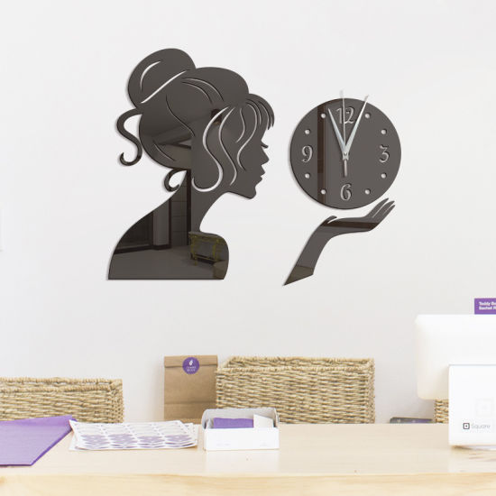 China Diy Living Room Beauty Girl Modern Acrylic Mirror Surface 3d Simple Big Size Wall Decor Clocks Numbers Stickers China Clocks Numbers Stickers And Clocks Stickers Price