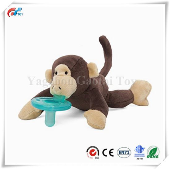 Hot Selling Brown Monkey Pacifier Soft Baby Toy