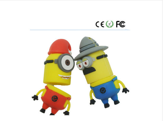 Minions Design PVC Material Customzied Logo USB Pendrive USB3.0 pictures & photos