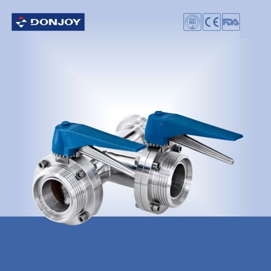 Double Seat Sanitary Pneumatic Butterfly Valve pictures & photos