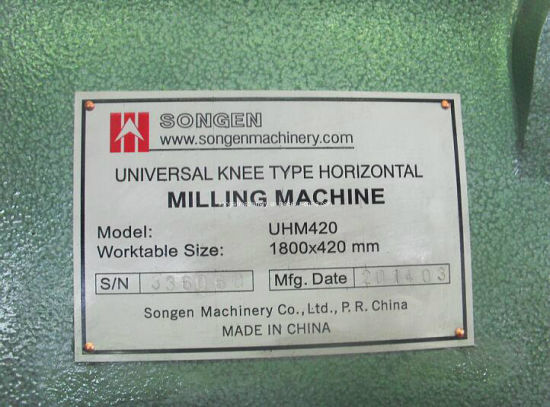 Table 1600X360mm Plain Horizontal Milling Machine pictures & photos