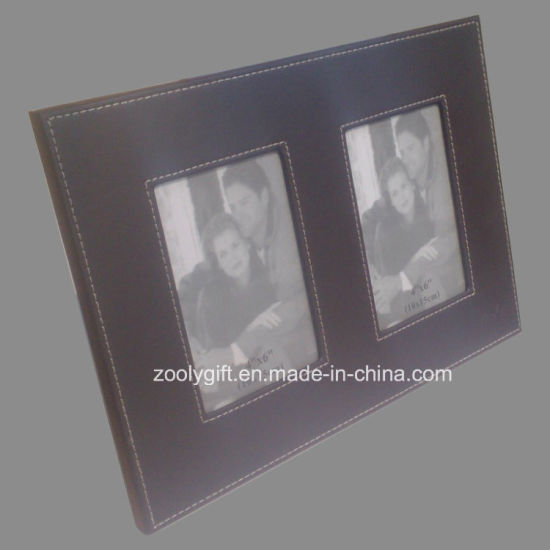 5 X 7 Brown Decorative Stitched Leather Photo Frame pictures & photos