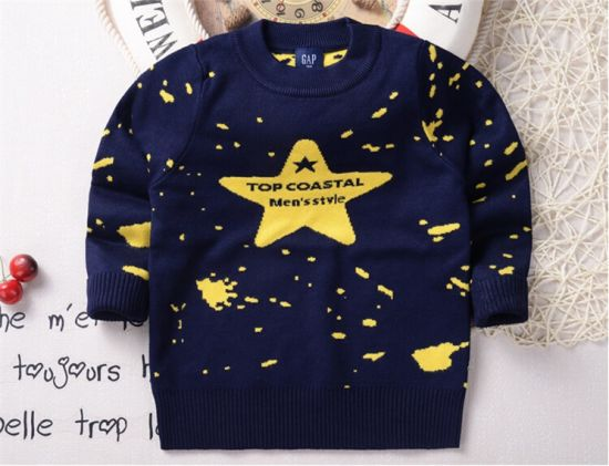 T1203 2015 Spring Autumn Korean Style Baby Knitted Pullover Kids Boys Cotton Star Pattern Sweater Bottoming Shirt Inner Tops for Wholesale