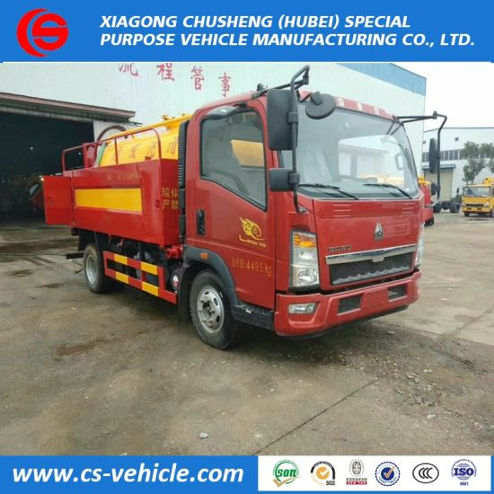 HOWO 4X2 6cbm Vacuum Sewage Suction Water Jetting Truck for Sale