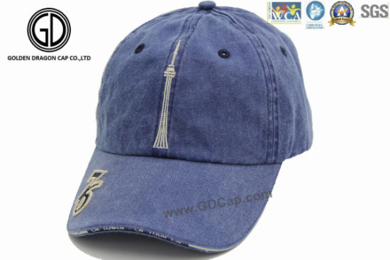 Fashion Washed Denim Embroidery Logo Sports Baseball Cap  Baseball Hat f988372ac2ec