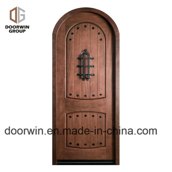 Arched Top Iron Clavos Door Design With Q Lon Weather Strip Insulation And  Solid Wood Front Door Frame