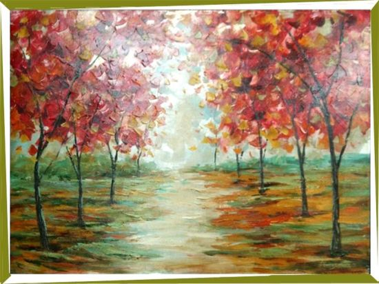 Hand Painted Impressionism Oil Paintings Cartoon Road Flower Tree,  Beautiful Home Decor Painting (