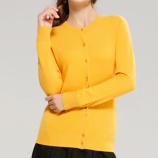 [Hot Item] Pure Cashmere Cardigan for Ladies Button Crew Neck Cardigans
