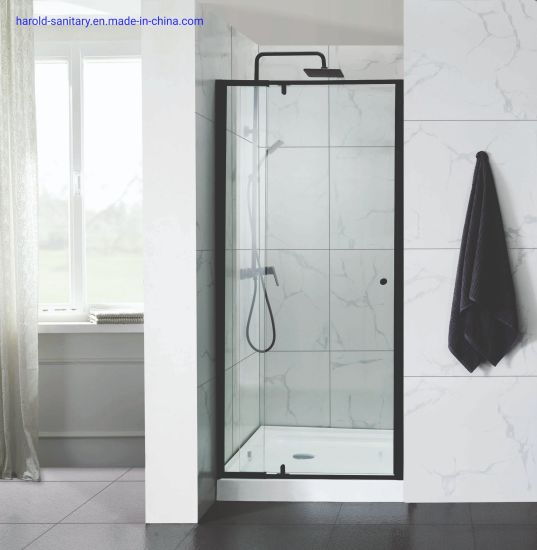 China Straight Matt Black Pivot Shower Enclosure With Magnetic Frame China Shower Enclosure Shower Screen