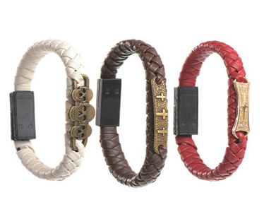 Leather Bracelet Cell Phone Cable