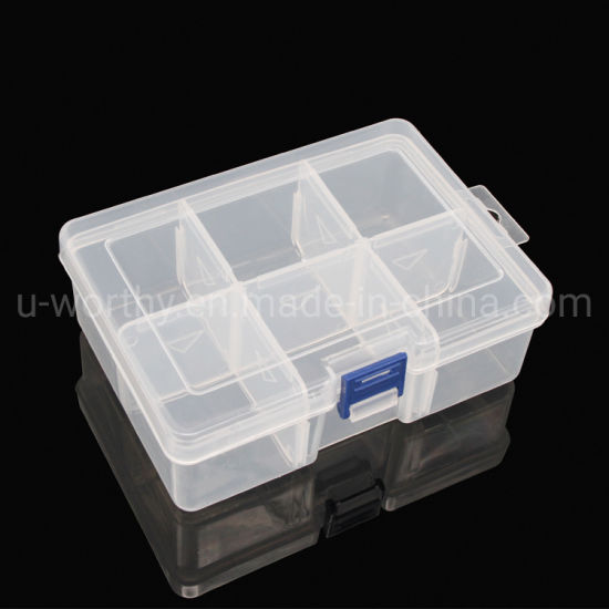 6 Compartments Transparent Plastic Storage Box with Adjustable Dividers