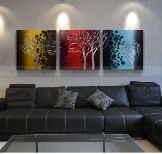 Tree Art Landscape Picture Modern Living Room Wall Paintings Gray Wall Decor Stretched On Aluminium 3d Metal Art Home Decor China Hanging Wall Arts And Decoration Price Made In China Com,Studio Apartment Design
