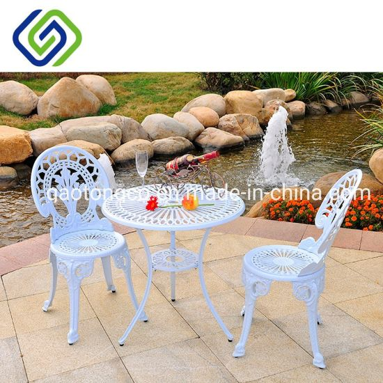 3 Piece Cast Aluminium Cafe Bistro Set Patio Cast Garden Outdoor Furniture Table and Chairs