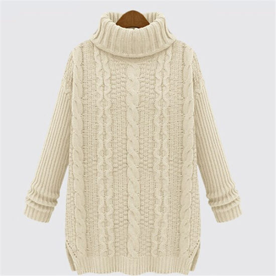 Fashion Loose High Neck Cable Style Knit Lady Sweater pictures & photos