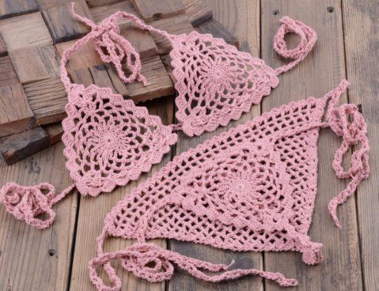 Wholesale Sexy Bohemian Style Bikini Crochet Knitted Beachwear for Women