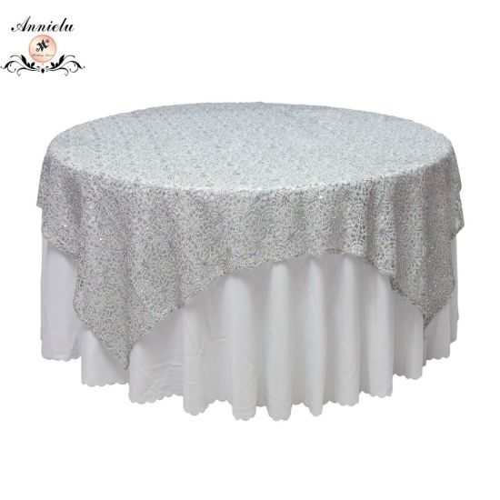 Annielu Tablecloth Hydrotropic Embroider with Sequin Wedding Table Overlay pictures & photos