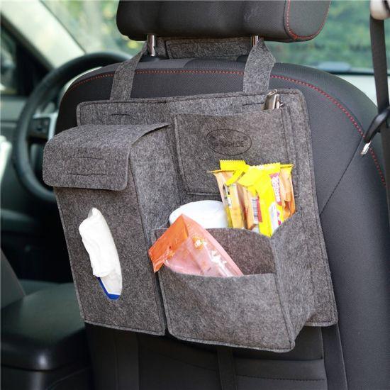 Wholesale Car Interior Accessories Felt Storage Car Seat Back Organizer Bag