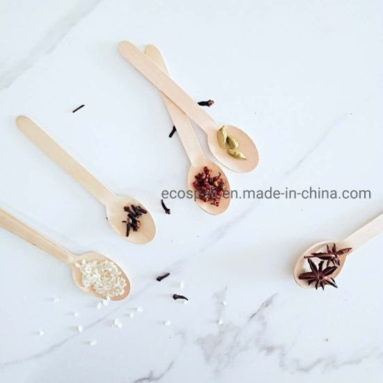 160mm Compostable Eco-Friendly Biodegradable Disposable Cutlery Wooden Tableware Dinnerware Spoon Natural Wooden Dessert Spoon Ice Cream Spoon