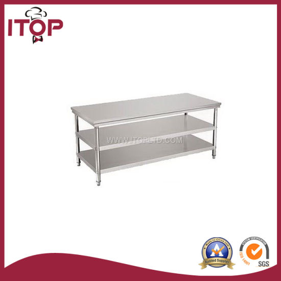China Stainless Steel Worktable With Under Shelves WTW China - Stainless steel table top shelves