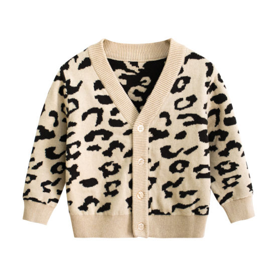 Autumn Baby Clothing Leopard Fashion Knitwear Cardigan Sweaters