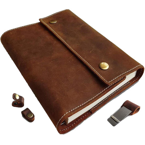 Vintage Refillable A5 Leather Journal with Card Holder