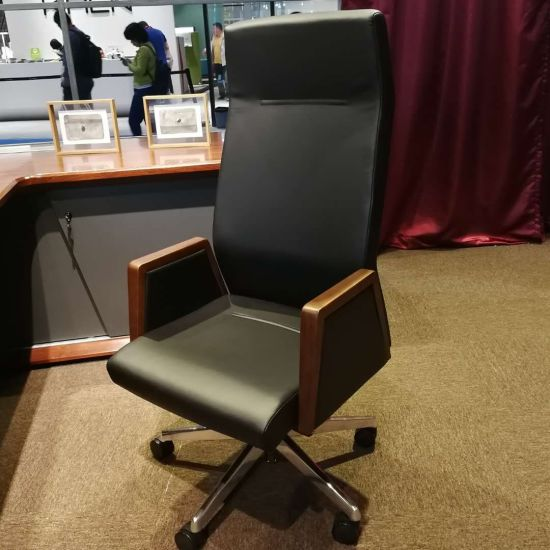 Enjoyable Office Furniture Multifunctional Chassis Executive Black Leather Aluminum Feet Swivel Office Chair With Nylon Silent Casters Fy1818 Ncnpc Chair Design For Home Ncnpcorg