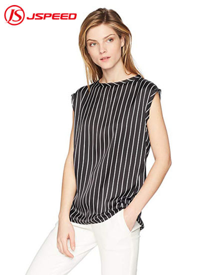 Wholesale Good Quality Ladies Sleeveless Blouse Striped Women Casual Shirt
