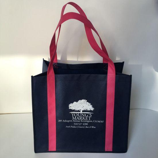 Factory Logo Custom Pormotional Non Woven Supermaket Grocery Tote Bag, PP Nonwoven Shopping Bag