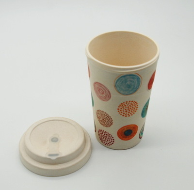 400m L14oz Eco Friendly Bamboo Fiber Coffee Mug and Cup with Silicone Holder, Green Water Bottle pictures & photos