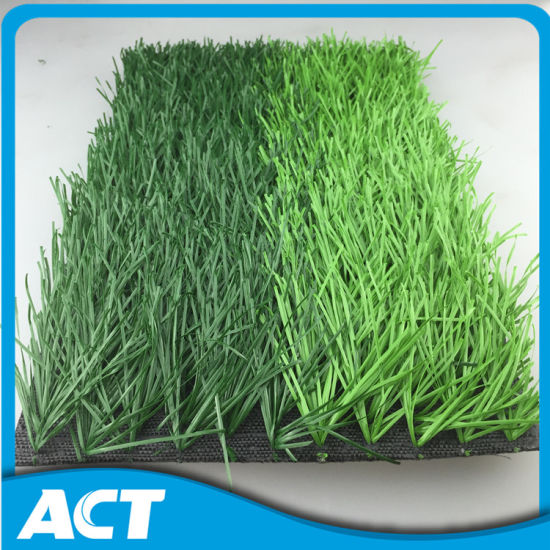 Two Green Colours Anti UV Artificial Football Grass for Football Field W50 pictures & photos