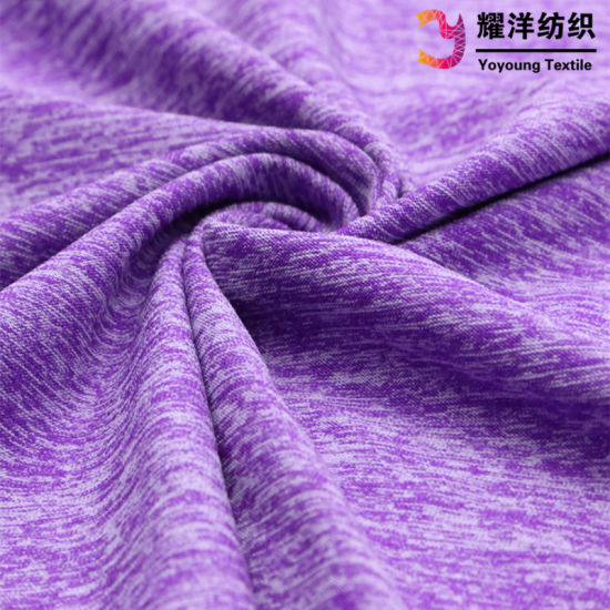 Yoga Clothing Cotton Feel Like Cationic Polyester Melange Single Jersey Fabric pictures & photos
