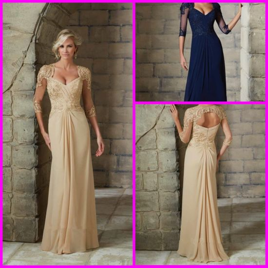 Lace Evening Dresses Champagne Navy Cap Sleeves Beaded Chiffon Mother Party Prom Evening 2016 Z401