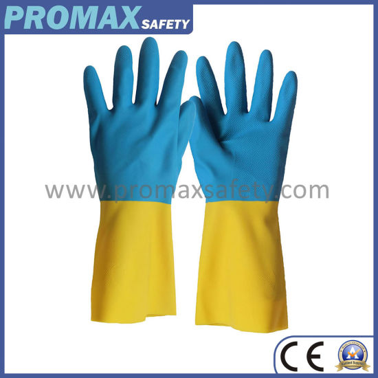 18mil Cotton Flocked Blue and Yellow Neoprene and Latex Glove