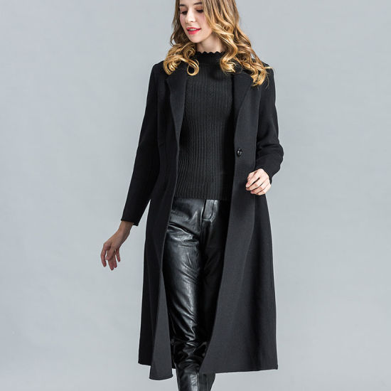 Fashion Black Long Wool Winter Coat For Women Pictures Photos