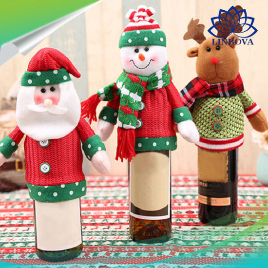 christmas decoration colorful bottle cover cloth wine bottle decor set kitchen for new year christmas dinner party