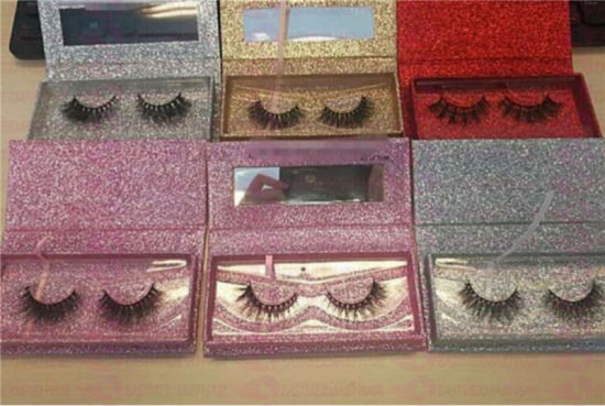 79f79b96466 Wholesale Custom Magnetic Closure Pink Glitter Paper Eyelash Box Packaging  with Clear Window
